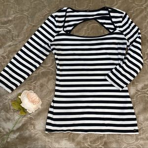 Guess Open Back 3/4 Sleeves Striped Shirt